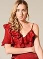 morhipo x dcey Volan Detaylı Elbise Kırmızı